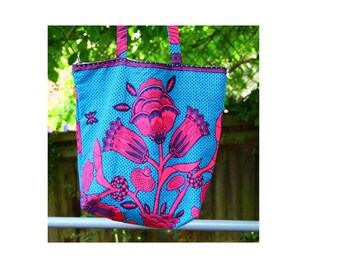 pink blue Ankara beach bag, African print tote bag, Ankara tote, wax print tote, school bag, uni bag, shopping bag, Ankara gym bag