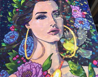 Holographic Lana del Rey print- A4