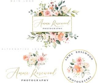 Watercolor Logo Flower - Photography Logo - Floral Logo - Golden Cute - Feminine Cute Logo - Wedding Business Logo - Pastel Boutique Logo