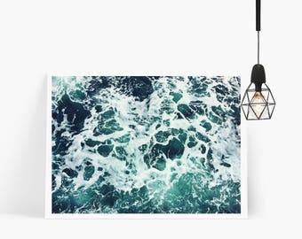 Blue Ocean Water Print, Printable Wall Art, Beach Print, Wall Decor, Instant Wall Art, Waves Print, Digital Download