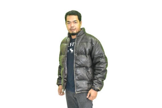 Vintage Schott Goose Down Puffer Leather Jacket
