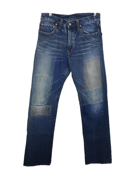 Blue Blue Distressed Patchwork Denim Jeans