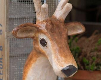 paper mache, deer, head wall mount, home decor, animal head, wall hanging