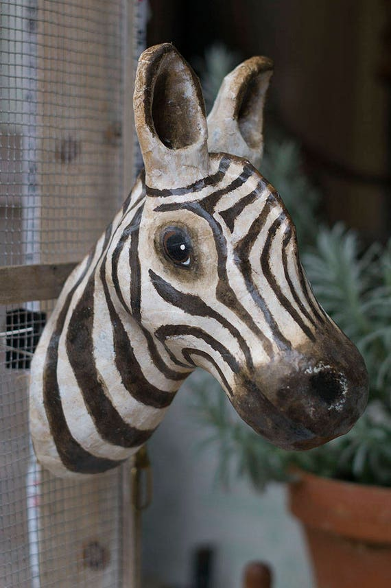 paper mache zebra head wall mount home decor animal head | Etsy