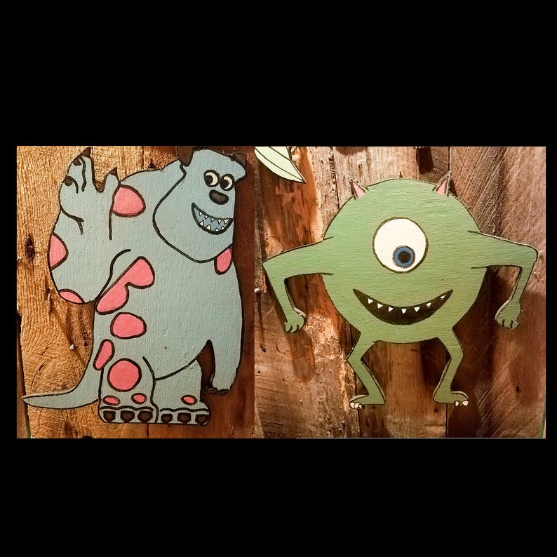 Monsters Inc Wooden Wall Decor Sully Mike Wazowski Etsy