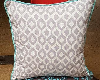 Light Grey Geometric Cushion with Aqua Piping detail
