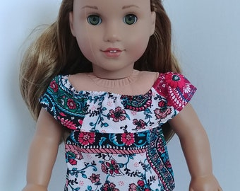 Doll shirt. 18 inch doll clothing. Fits like American girl .18 inch doll clothes.  Floral print shirt