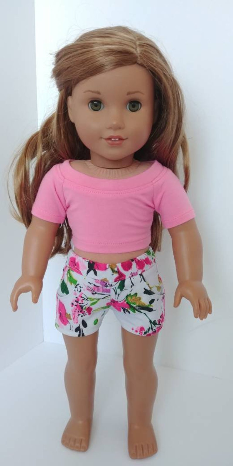 Gray Fushia floral jean shorts Doll Jeans shorts .18 inch doll clothes 18 inch doll clothing American girl