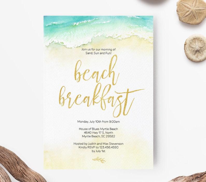 Gold Beach Wedding Brunch Or Breakfast Invitation Template PDF Instant Download LWI W3