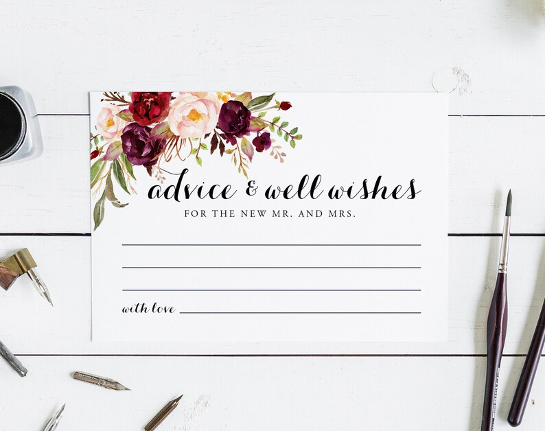 Marriage Advice PDF Instant Download LWI-W2 Floral Advice Cards Burgundy Wedding Advice Cards Advice Printable Wedding Advice Template