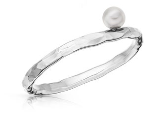 ULTIMATE hammered pearl ring - tepaný prsten, Recycled Silver