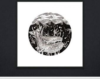 Hand drawn Whale print