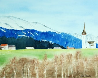 "Swiss Alps Village, Original Watercolor Painting, Wall Decor, Print, Size: 36 x 48cm (14,2"" x 18,9"")"