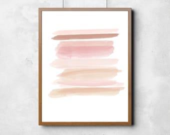 Pink Watercolor, Abstract Printable Art, Modern Watercolor Wall Art, Pink Prints, Pink Wall Art, Modern Wall Art, Minimal Brush Art,