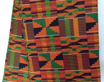 Ghanaian Kente Cloth Print, 100% Cotton, by the yard