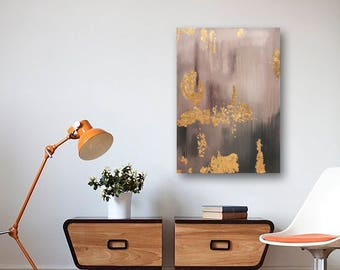 gold leaf abstract art living room interior design