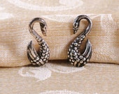 Vintage Taxco Sterling Silver Swan Earrings c1950s screw back