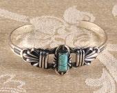 Vintage Navajo Sterling Silver & Rectangular Turquoise Stone Cuff Bracelet c1960s