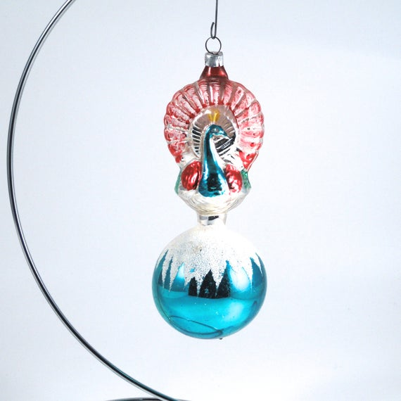 HAND BLOWN /& PAINTED MERCURY GLASS PEACOCK CHRISTMAS ORNAMENT