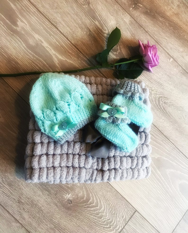 d8e663c74bbed Mint and grey frilly baby girl booties, new baby girl booties, baby girl  gift, knitted baby girl present, new baby booties, preemie baby