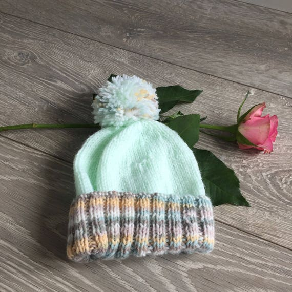 391868c8cc6 Baby boy hand-knitted mint green and brown yellow pom pom hat