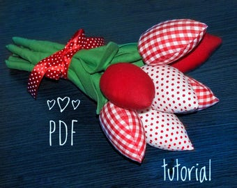pdf pattern textile anniversary flowers fabric bouquet primitive tulips Decorative Flowers tutorial red Tulip textile tulips PDF flowers diy