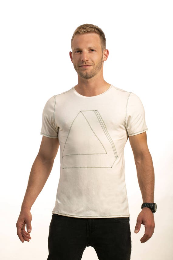 T clothing Mans Mens shirt Shirt Evening Tshirt clothing gift Man's Mens wear Design birthday fashion shirt Mens Geometric Top White WAzSzn