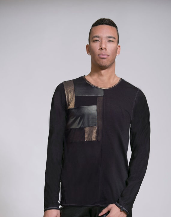 Handmade mans man Top Men Shirt fashion clothing shirt clothing T shirt Black shirt Men Long Mens Man black Unique Design Men's shirt qBcO6gcZwH