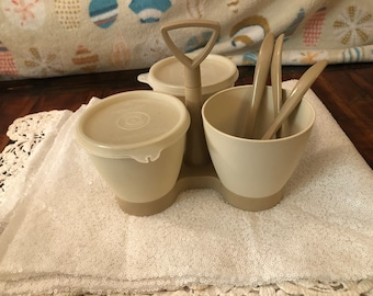 Glass Gold Tupperware Condiment Caddy with Lids and Spoons Baby Dog Blankets Vintage ..We also have Corn Bags Relish Dishes Tea Sets