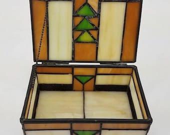 Vintage Stained Glass Jewelry Trinket Box