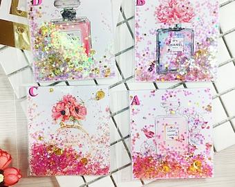 Planner Shaker Dashboard: Perfume, shaker dashboard, planner dashboard, glitter dashboard, shaker card, planner divider, glitter bookmark
