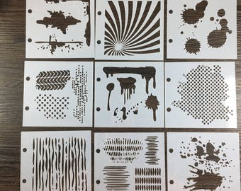 planner scrapbook stencils mini stencil set mixmedia 9 pieces ray splatters