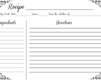 Black and White Recipe Card 5x7 (Digital Download)