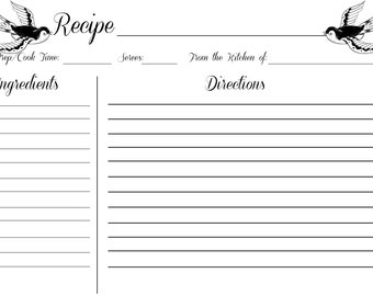 Swallows Recipe Card 5x7 (Digital Download)