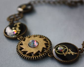 Steampunk Bracelet, Jewelry, Cog Bracelet, rainbow, iridescent, Clockwork, Antique bronze, Accessory, gear, watch movements, watch parts