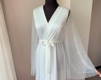 Long bridal robe, ivory pearl tulle robe, maxi bridal robe, wedding day, kimono robe, lace sleeves, boudoir robe