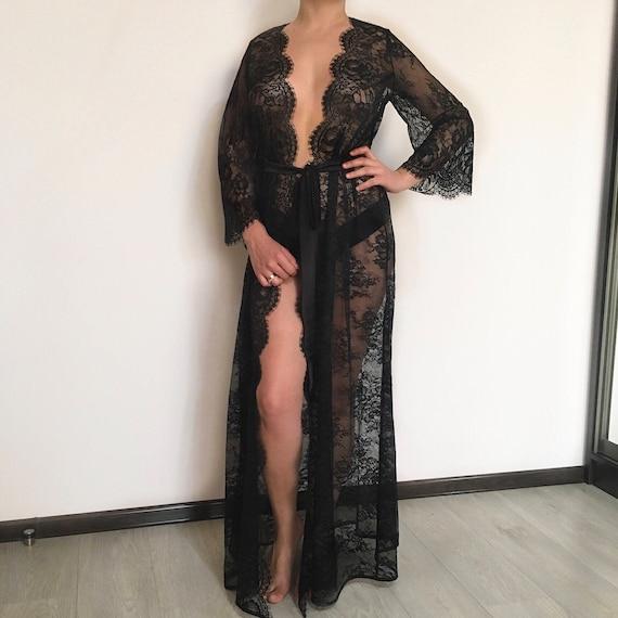 price reduced good texture discount price Long black lace robe, black lingerie, wedding robe, boudoir robe, lace  kimono, boudoir lingerie, sexy gown, maternity robe, black lace, gift