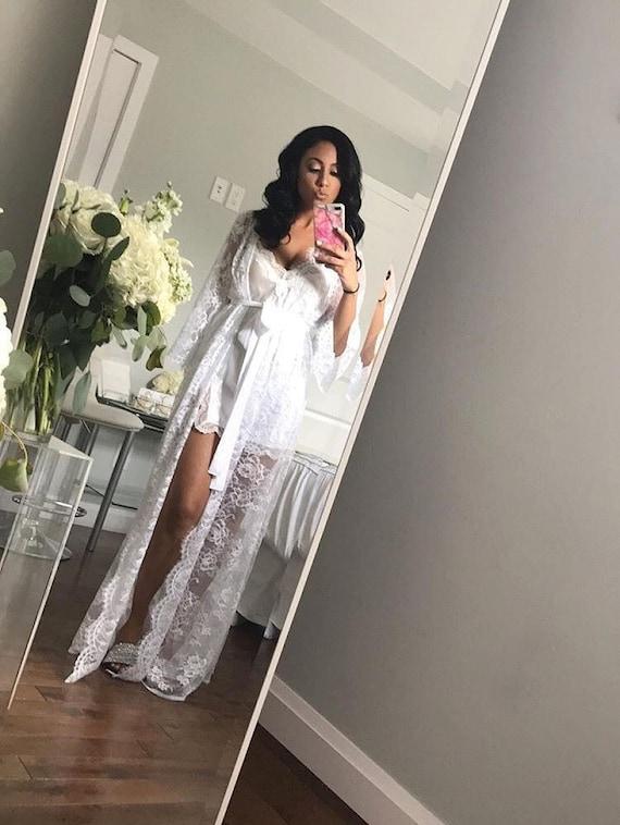 Bridal Lace Robe Full Length Bridal Robe Boudoir Robe Lace Robe Wedding Robe Wedding Day Robe Long Lace Bridal Robe