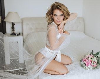 Boudoir robe, Long bridal robe, Sheer robe, Bridal lingerie robe, Wedding day