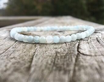 Delicate aquamarine bracelet