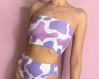 Lilac & Pink cow print bandeau / tube top