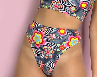 70s Flowers and optical illusion high waisted high leg bottoms