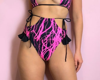 UV Reactive Neon Pink High Waisted High Leg Rave Side Tie Frill Bottoms