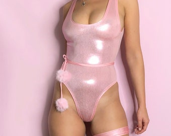 3 piece set / High Shine Metallic baby pink scoop neck rave bodysuit / thong bottom / low cut back