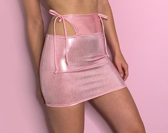 Pink Metallic High Waisted Cutout rave skirt