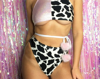 Holographic pink and cow print underboob