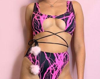 UV Reactive Neon Pink lightning rave cutout scoop neck underboob multiway crop top with Pom Poms