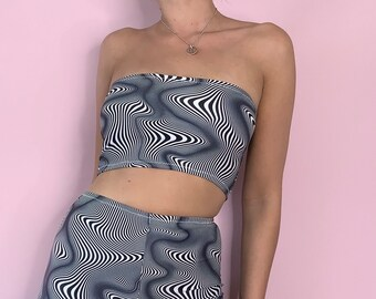 Optical illusion bandeau / boob tube crop top