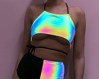 Rainbow Reflective rave underboob halter neck top