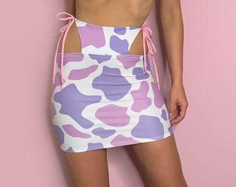 Lilac Cow Print High Waisted Cutout rave skirt